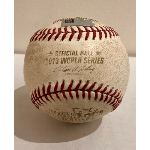 Photo of Game-Used Baseball: 2013 World Series Game 2 - St. Louis Cardinals at Boston Red Sox - Batter: Shane Victorino, Pitcher: Carlos Martinez - Bottom of 8, Foul Ball