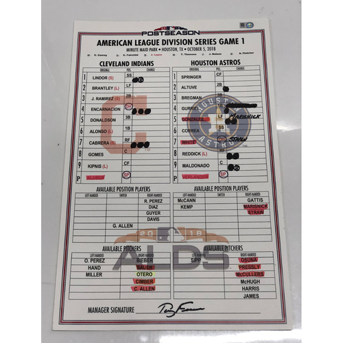 Photo of Game Used Line-Up Card: 2018 American League Division Series vs. Houston Astros, Game 1