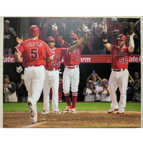 Photo of Albert Pujols 600th Home Run Celebration Photo Canvas with Batters Box Dirt
