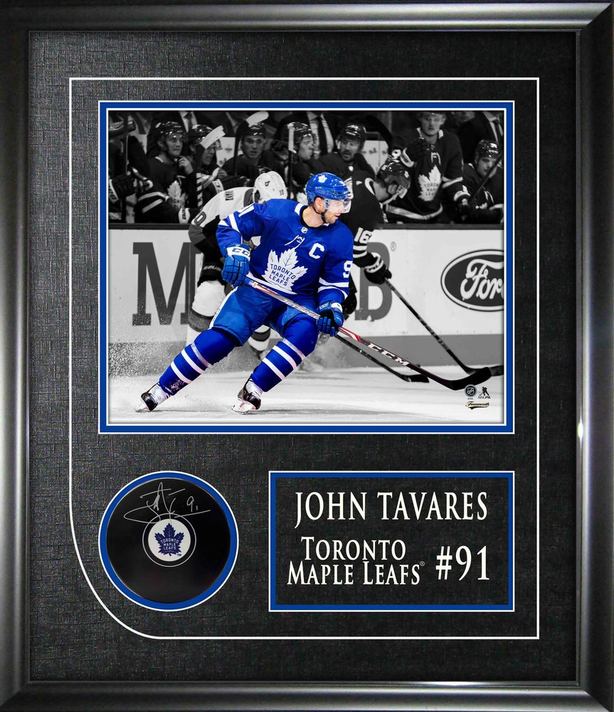 John Tavares Signed Puck Framed Toronto Maple Leafs