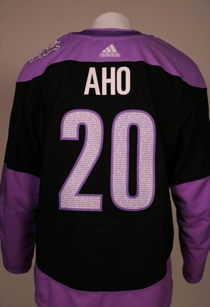 Sebastian Aho #20 Autographed, Warm Up Worn Hockey Fights Cancer Jersey