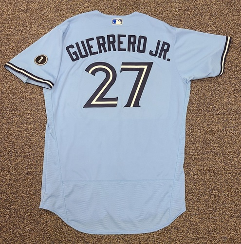 Photo of Authenticated Team Issued Jersey: #27 Vladimir Guerrero Jr. (2020 Season). Set 1. Size 48.