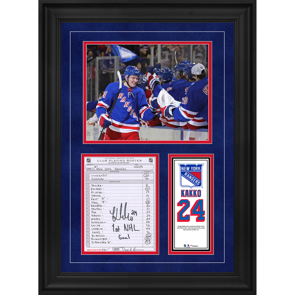 Kaapo Kakko New York Rangers Framed Autographed Original Line-Up Card from October 12, 2019 vs. Edmonton Oilers with