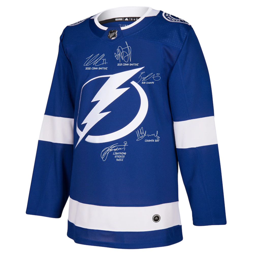 Tampa Bay Lightning 2021 Stanley Cup Champions Autographed Blue Adidas Authentic Jersey with Multiple Signatures and Inscriptions - LE#1 of 21
