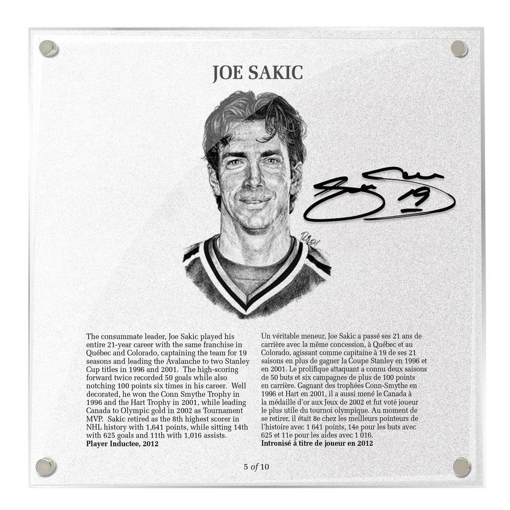 Joe Sakic Autographed Legends Line Honoured Member Plaque - Limited Edition 4/10