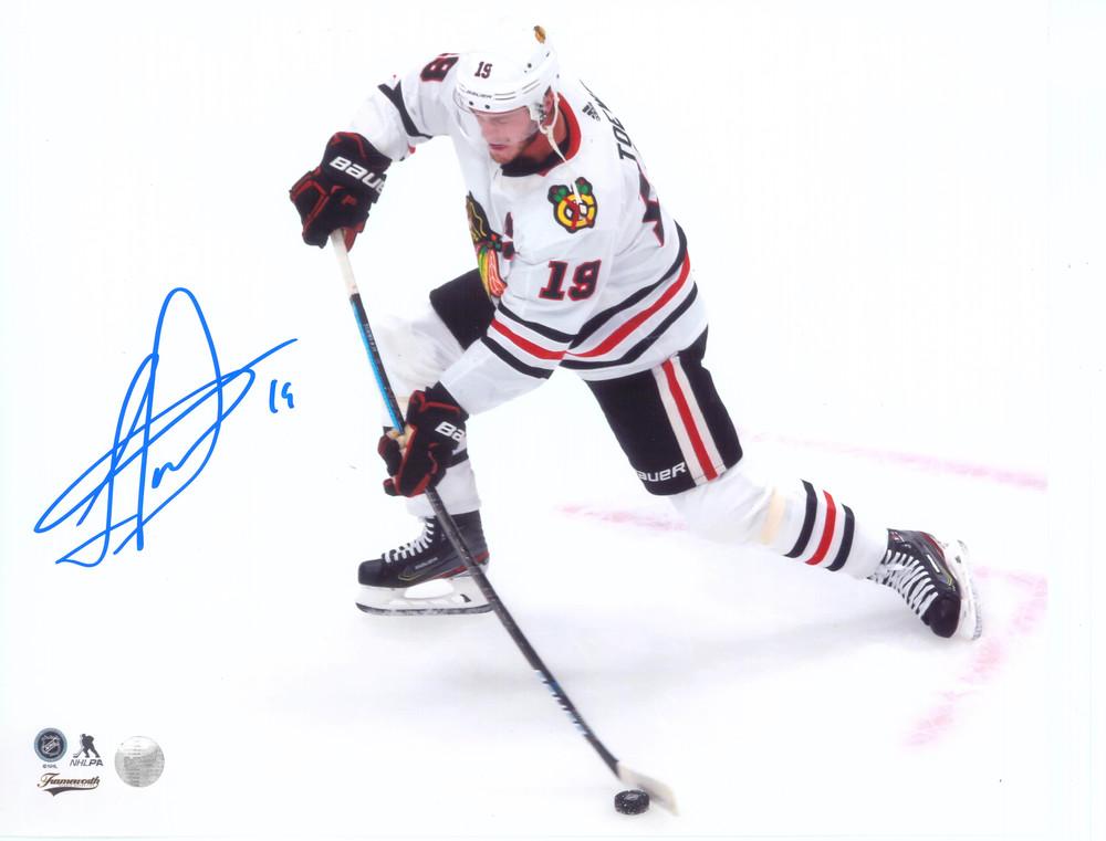 Jonathan Toews Chicago Blackhawks Signed 8x10 White Shooting Photo