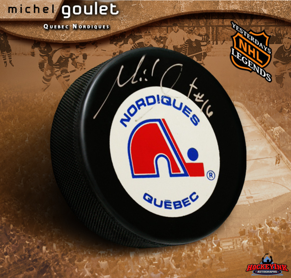 MICHEL GOULET Signed Retro Quebec Nordiques Puck