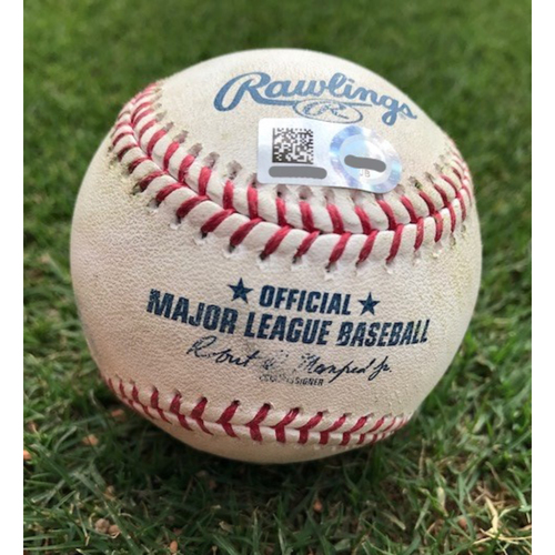 Photo of Game-Used Baseball - Shohei Ohtani Pitch #1 1st Career At Bat As Pinch Hitter - 4/10/18