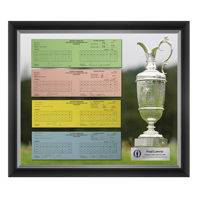 Photo of 1 of 200 L/E Paul Lawrie, Champion Golfer of Year, The 128th Open 1,2,3 and Final Round Scorecard Reproductions Framed