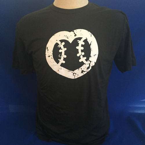 Photo of UMPS CARE AUCTION: UMPS CARE Baseball Heart Logo Men's T-Shirt, Black with White Heart (Select Your Size)