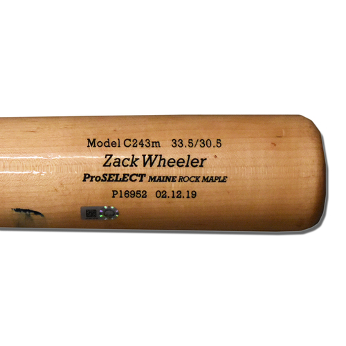 Photo of Zack Wheeler #45 - Game Used Cracked Bat - Mets vs. Braves - 4/12/2019
