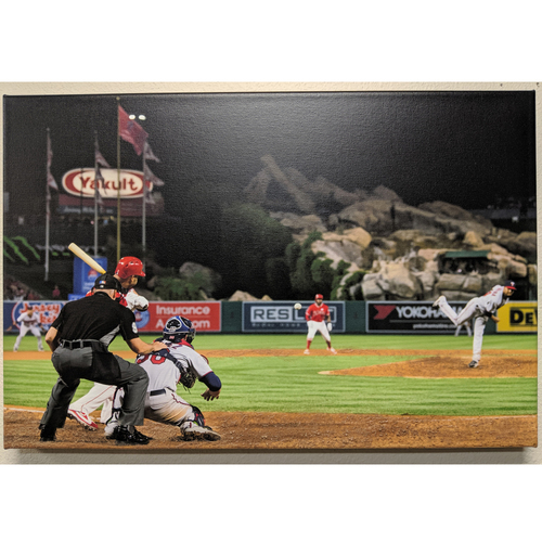 Photo of Albert Pujols 600th Home Run Photo Canvas with Batters Box Dirt