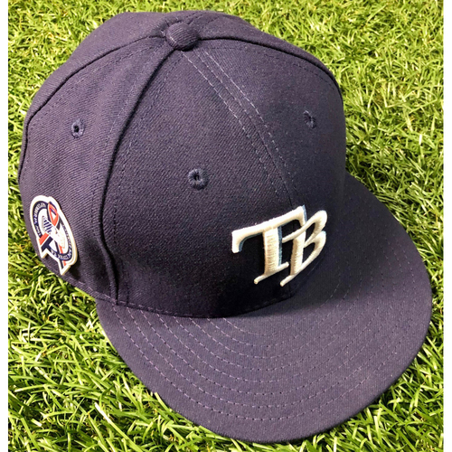 Photo of Game Used 9/11 Commemorative Cap: Brandon Lowe - Rookie Season and Starting Second Baseman - September 11, 2018 v CLE