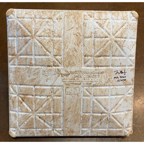 "Photo of 2020 Black Friday Sale -  Game Used Autographed Base used on 8/20/20 vs. LAA - Joey Bart MLB Debut - Signed & Inscribed ""MLB Debut 8/20/20"" by #21 Joey Bart - 3rd Base from Innings 1-3 on 8/20/20 vs. LAA"