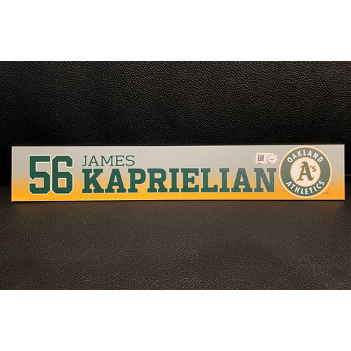 Photo of James Kaprielian Team Issued 2020 Spring Training Locker Nameplate