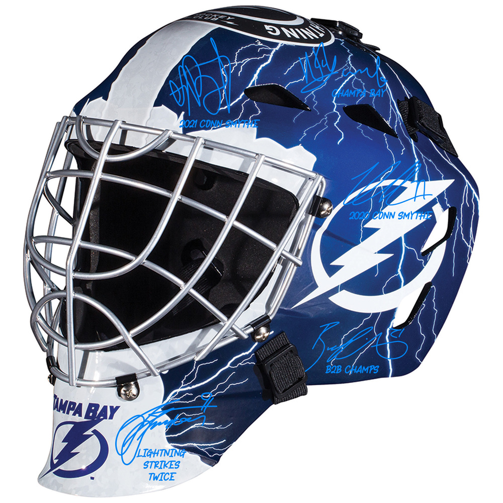Tampa Bay Lightning 2021 Stanley Cup Champions Autographed Replica Goalie Mask with Multiple Signatures - LE#1 of 21