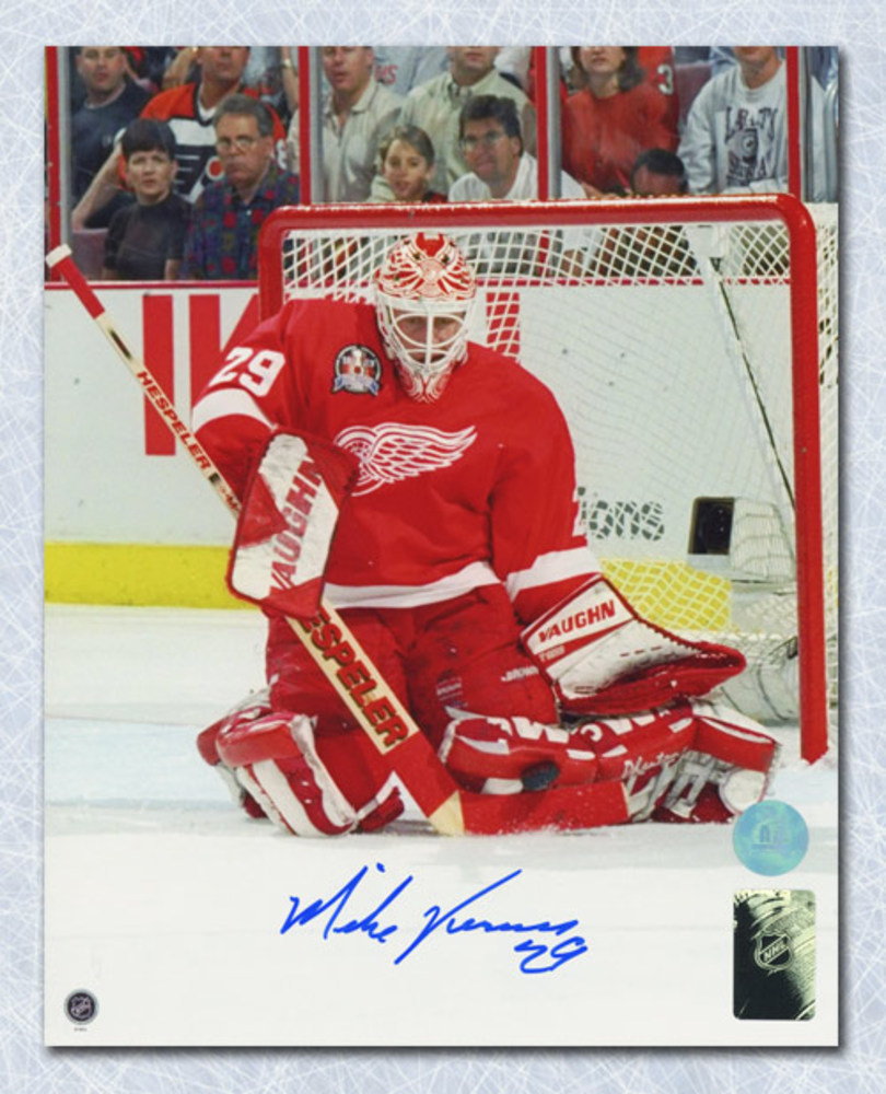 Mike Vernon Detroit Red Wings Autographed Stanley Cup Finals Action 8x10 Photo