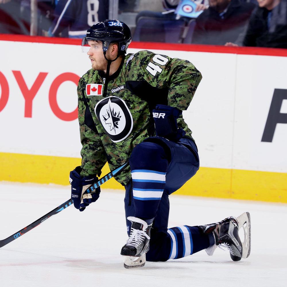 Joel Armia Winnipeg Jets Warm Up Worn Canadian Armed Forces jersey