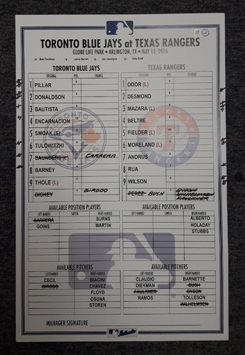 Photo of Authenticated Game Used 2016 Lineup Card - May 13, 2016 vs Texas Rangers. Tulowitzki hit Career Home Run #200. 8 shutout innings by Dickey.