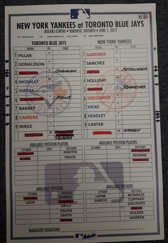Authenticated Game Used Line Up Card - June 1, 2017 vs NYY: Brett Gardner recorded career hit #1000