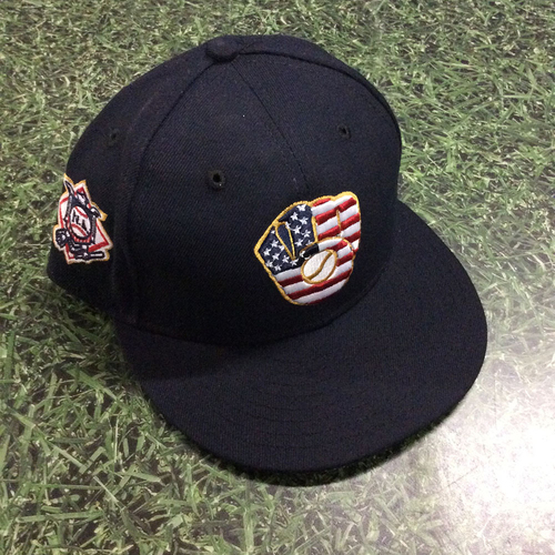 Photo of Nate Orf Game-Used 2018 Stars & Stripes Cap - First Hit/HR Game (7/4/18)