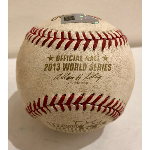 Photo of Game-Used Baseball: 2013 World Series Game 3 - Boston Red Sox at St. Louis Cardinals - Batter: Dustin Pedroia, Pitcher: Joe Kelly - Top of 1, Pitch in the Dirt
