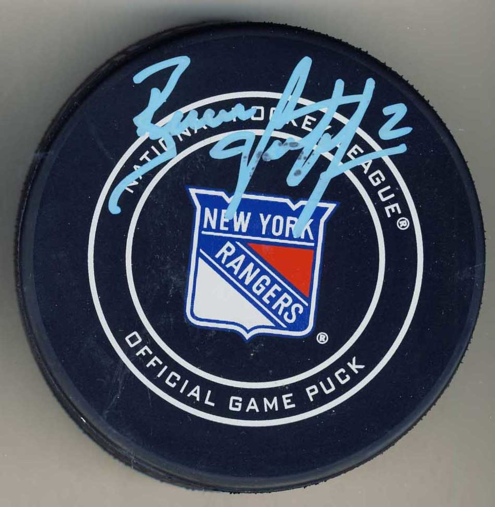 Brian Leetch New York Rangers Autographed Official Game Puck *Autograph Slightly Streaky*