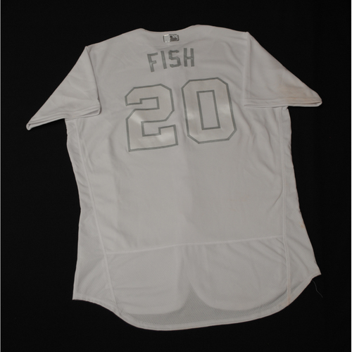 "Photo of Derek ""FISH"" Fisher Toronto Blue Jays Game-Used 2019 Players' Weekend Jersey"