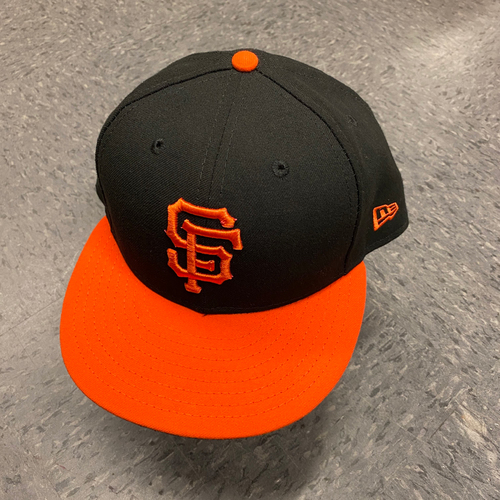 Photo of 2019 Game Used Orange Bill Cap worn by #33 Alonzo Powell on 9/27 vs. Los Angeles Dodgers - Size 7 5/8