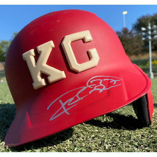 Photo of Autographed/Game-Used Monarchs Helmet: Adalberto Mondesi #27(STL @ KC 9/22/20) - Size 7 1/2