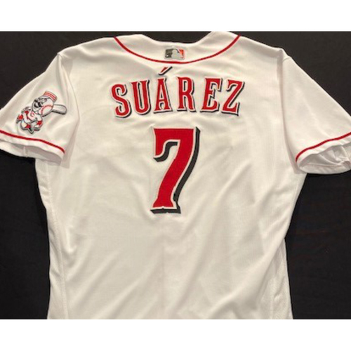Photo of Eugenio Suarez - 2020 Home White Jersey - Game-Used - Size 46 - Worn for Reds Opening Day (7/24/20) and First HR of 2020 Season (8/4/20)
