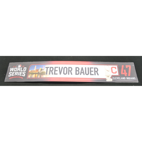 Photo of Game-Used Locker Tag - 2016 World Series - Games 1, 2, 6, and 7 - Trevor Bauer