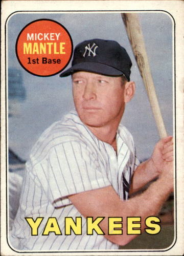 Photo of 1969 Topps #500A Mickey Mantle UER/No Topps copy-/right on card back
