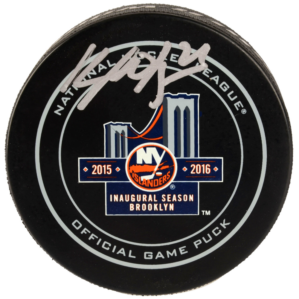 Kyle Okposo New York Islanders Autographed Inaugural Season In Brooklyn Official Game Puck