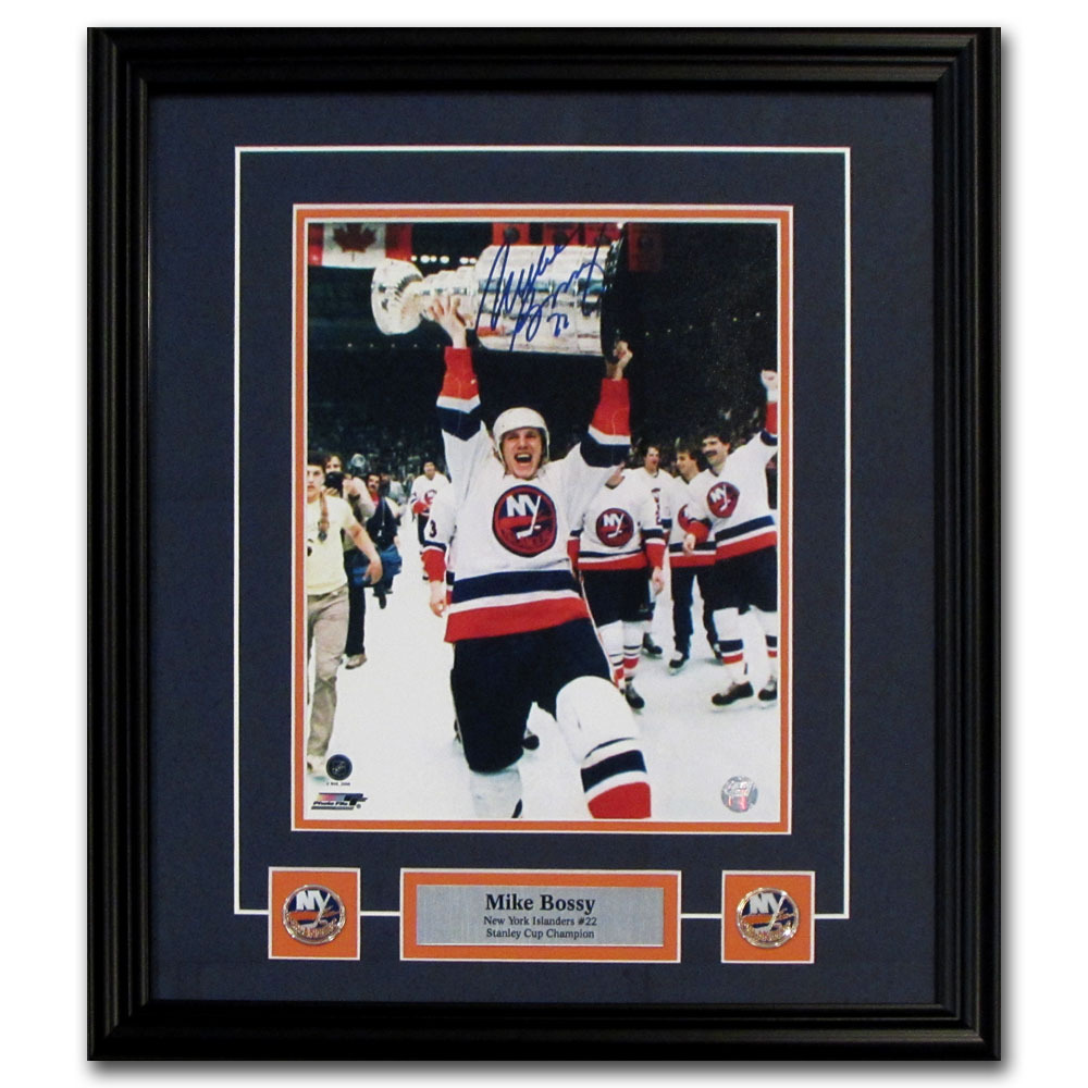 Mike Bossy Autographed New York Islanders Framed 8X10 Photo