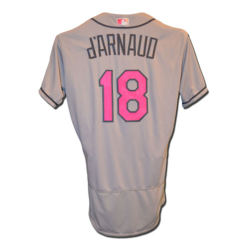 Photo of Travis d'Arnaud #18 - Team Issued Road Grey Mother's Day Jersey - 2017 Season
