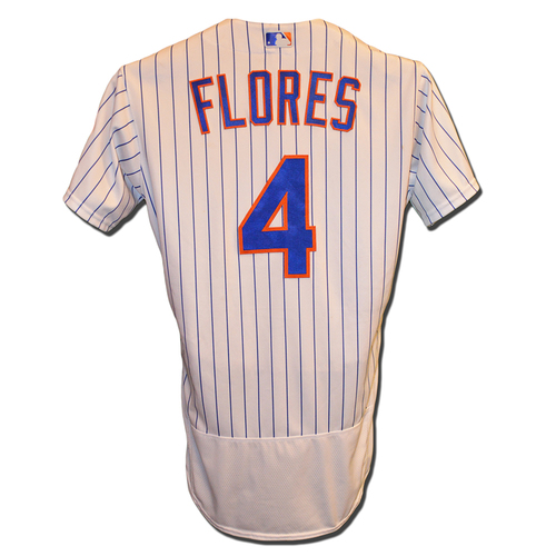 Photo of Wilmer Flores #4 - Game Used White Pinstripe Jersey - Flores Hits Walk-Off Sac Fly in 9th, Mets Win 5-4 - Mets vs. Diamondbacks - 5/19/18