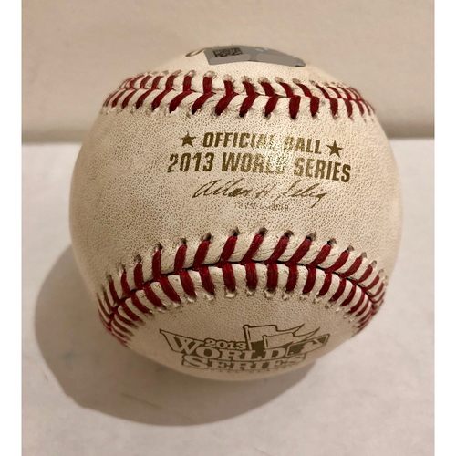 Photo of Game-Used Baseball: 2013 World Series Game 3 - Boston Red Sox at St. Louis Cardinals - Batter: Matt Carpenter, Pitcher: Jake Peavy - Bot of 1, Foul Back to Screen