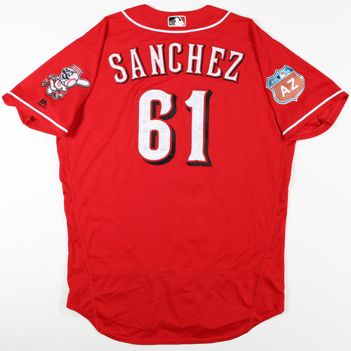 Photo of 2016  Spring Training -  Spring Training Used Jersey - Jonathan Sanchez (Reds) - Size 48
