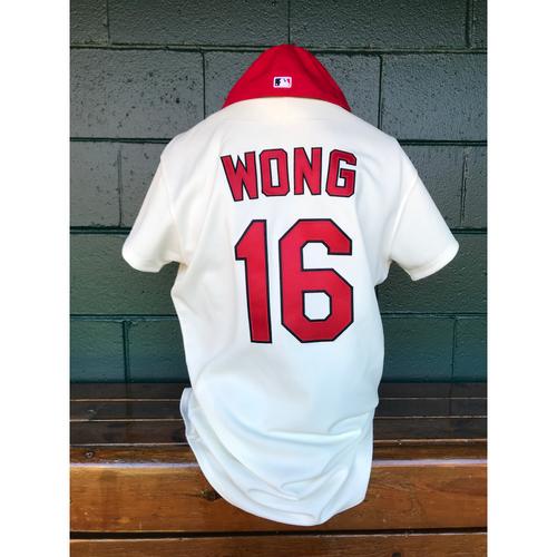 Photo of Cardinals Authentics: Game Worn Kolten Wong Turn Back the Clock Jersey and Cap