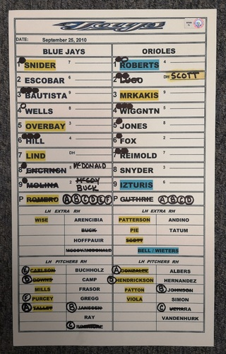 Photo of Authenticated Game Used Lineup Card - September 25, 2010 vs BAL: Walk-Off Home Run by Lyle Overbay