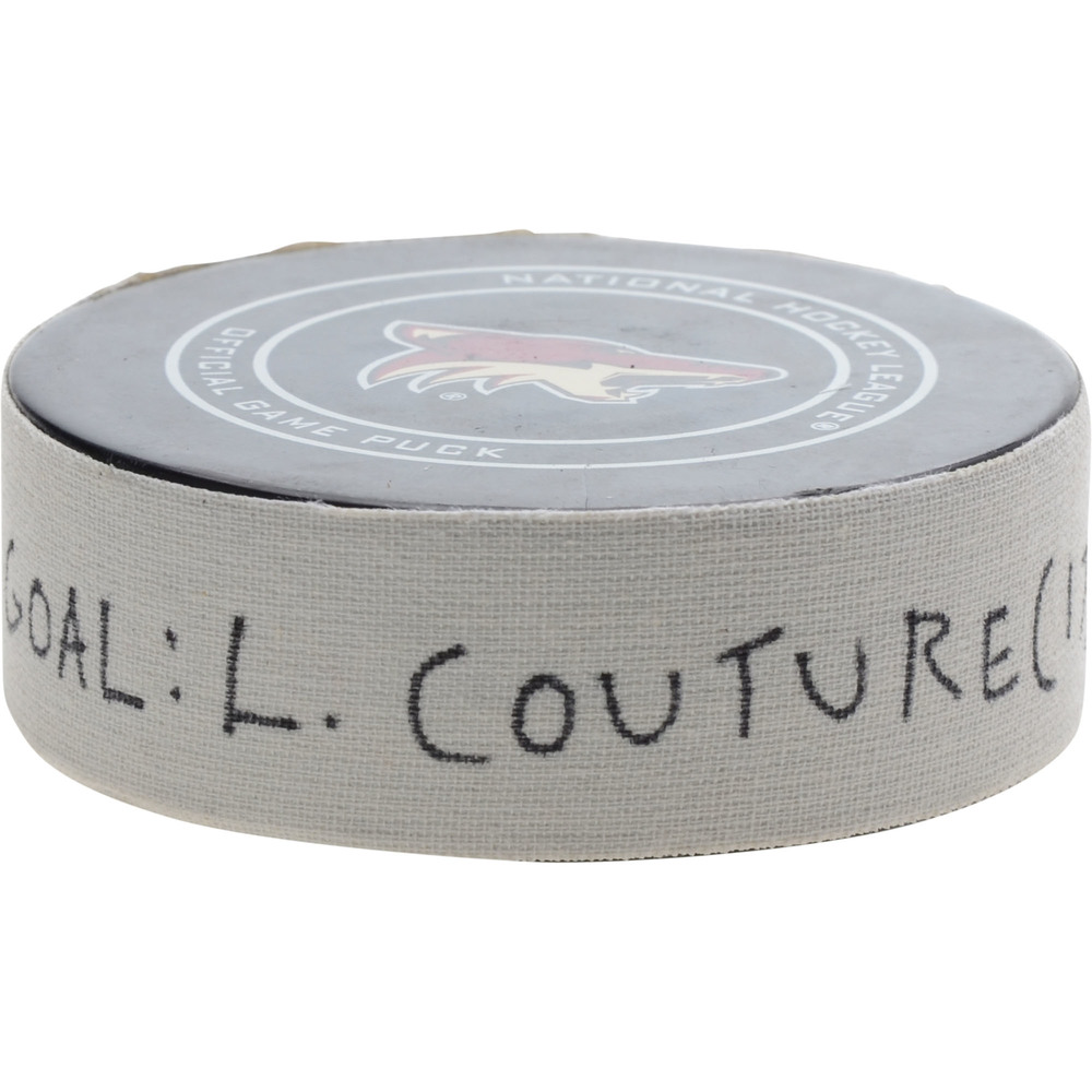 Logan Couture San Jose Sharks Game-Used Goal Puck from January 16, 2019 @ Arizona Coyotes