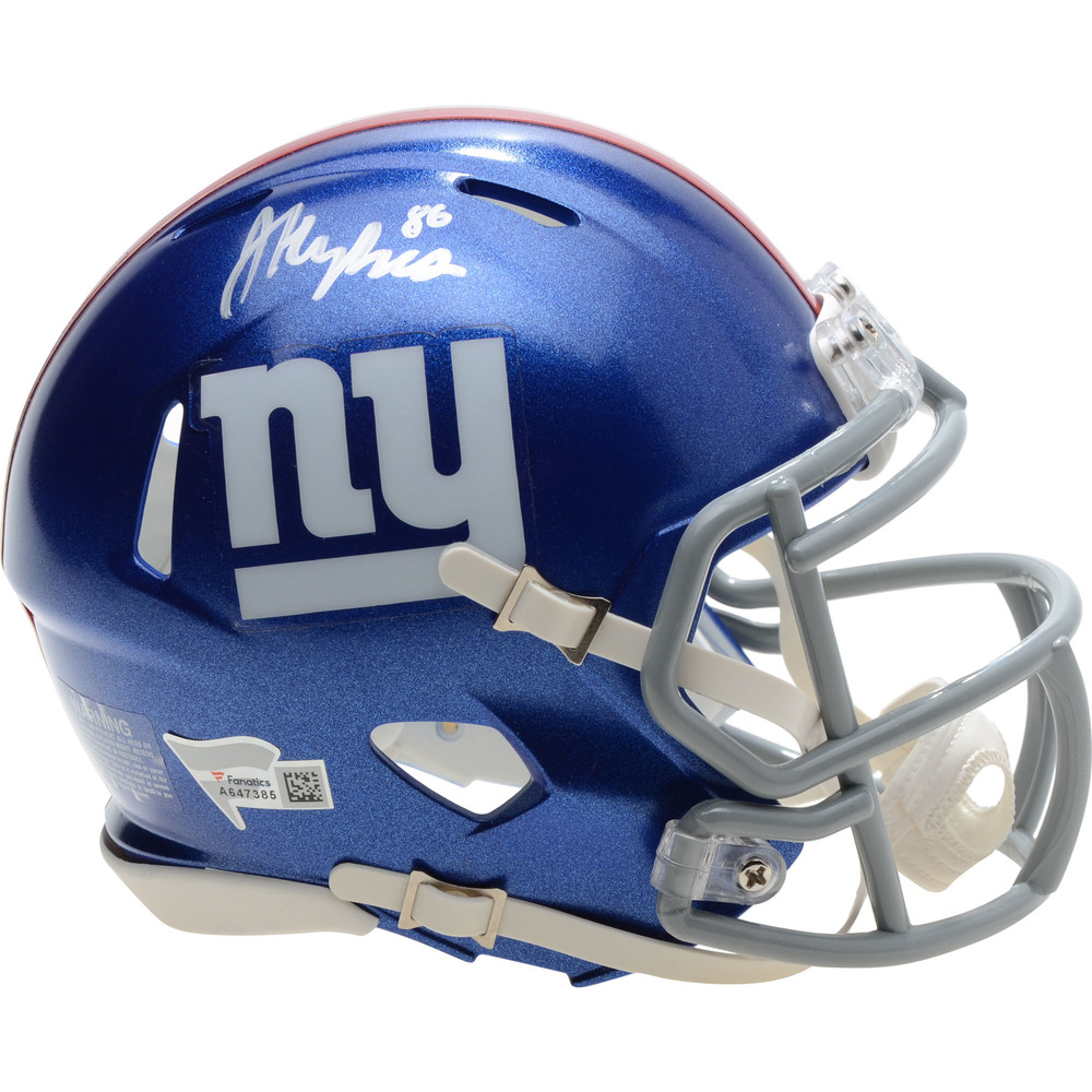 Jack Hughes New Jersey Devils Autographed New York Giants Mini Helmet - NHL Auctions Exclusive