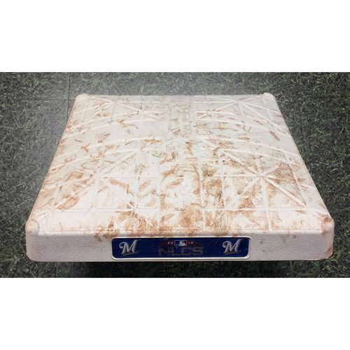 Photo of Game-Used 1st Base LAD@MIL NLCS Game 7 (10/20/18) - Innings 4-6 - Shaw & Cain Doubles; Puig 3-Run HR (INCLUDES FREE SHIPPING)