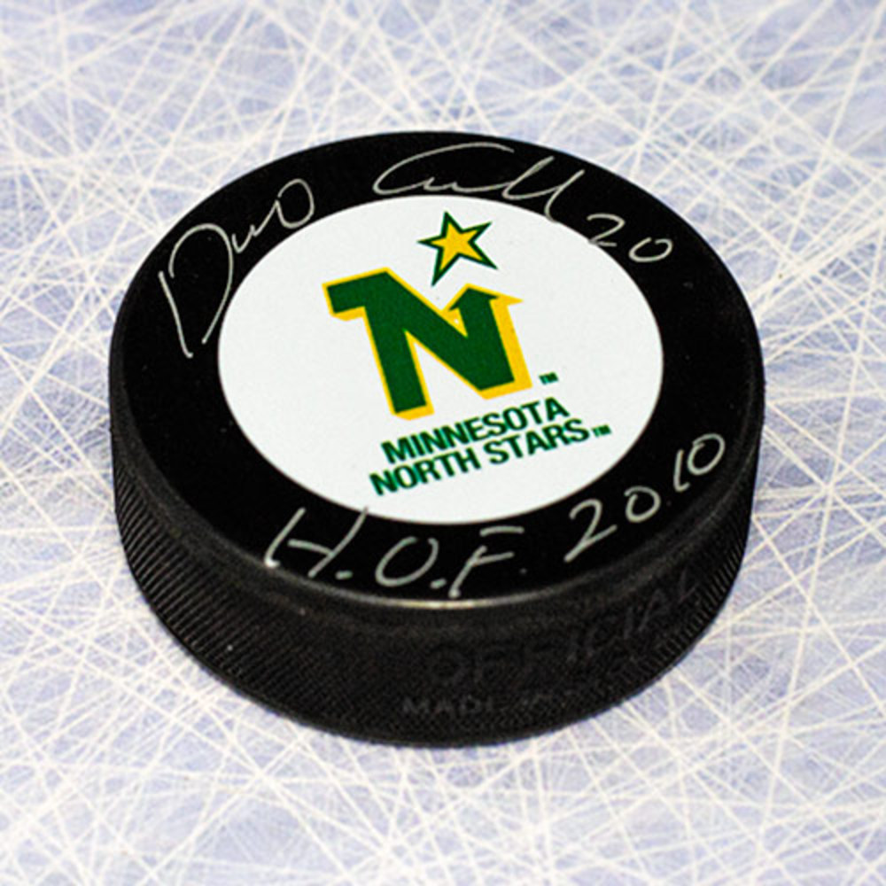 Dino Ciccarelli Minnesota North Stars Autographed Hockey Puck with HOF Note