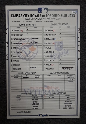 Photo of Authenticated Game Used 2016 Lineup Card - July 4, 2016 vs Kansas City Royals. Independence Day.