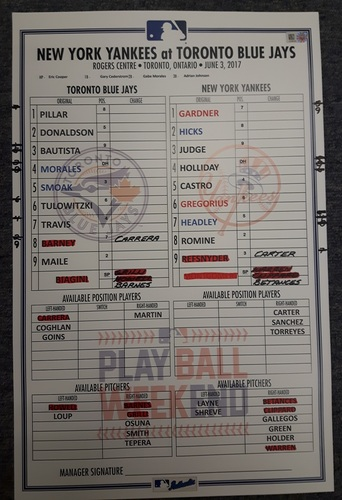 Authenticated Game Used Line Up Card - June 3, 2017 vs NYY: Yankees recorded 4 HRs off Grilli in the 8th Inning