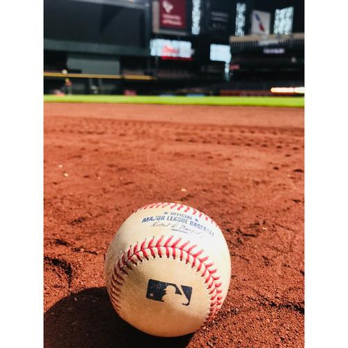 Photo of Game-Used Baseball: Schwarber, Baez vs. Corbin ARI-CHI 8/12/17