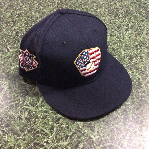 Photo of Manny Pina Game-Used 2018 Stars & Stripes Cap