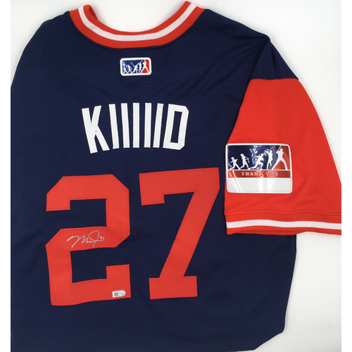 "Photo of Mike Trout ""KIIIIID"" Angels Autographed Players Weekend Nickname Jersey"